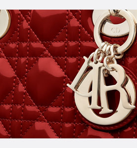 Mini Lady Dior Bag • Cherry Red Cannage Patent Calfskin