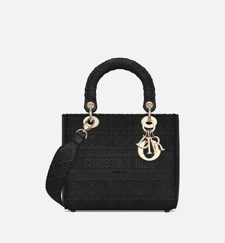 Medium Lady D-Lite Bag • Black Cannage Embroidery