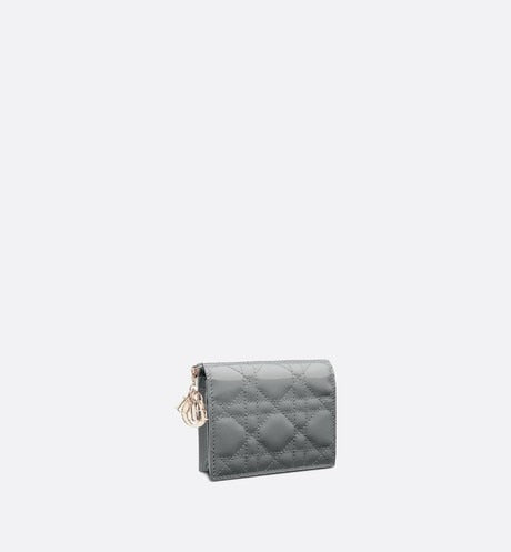Mini Lady Dior Wallet • Gray Stone Patent Cannage Calfskin