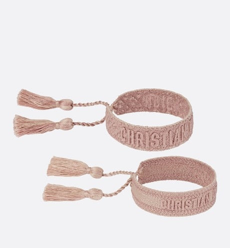 Pink J'Adior Dior Oblique Cotton Bracelet Set