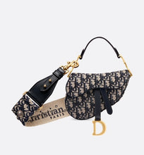 Load image into Gallery viewer, Mini Saddle Bag • Blue Dior Oblique Jacquard