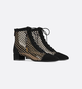 Naughtily-D Ankle Boot • Metallic Gold-Tone Fishnet and Black Suede Calfskin