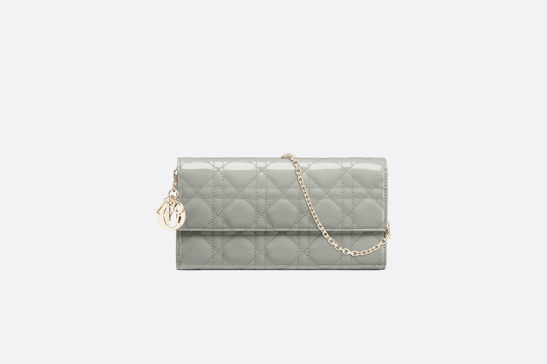 Lady Dior Long Wallet • Gray Stone Patent Cannage Calfskin