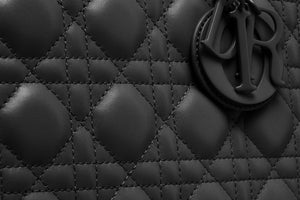 Medium Lady Dior Bag • Black Ultramatte Cannage Calfskin