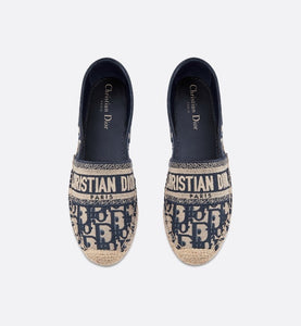 Dior Granville Espadrille • Dark Blue Dior Oblique Embroidered Cotton