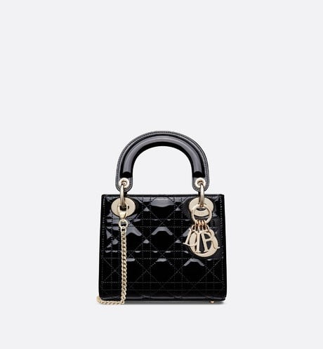 Mini Lady Dior Bag • Black Cannage Patent Calfskin