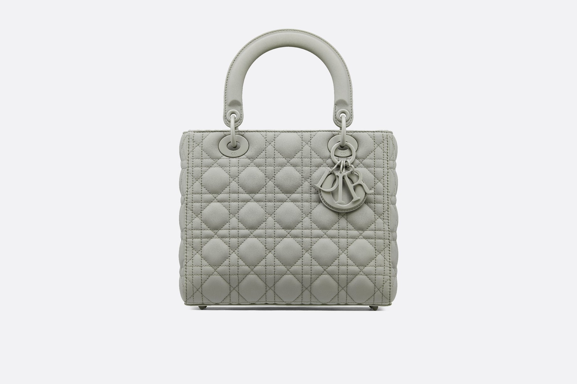 Medium Lady Dior Bag • Metallic Gray Cannage Calfskin
