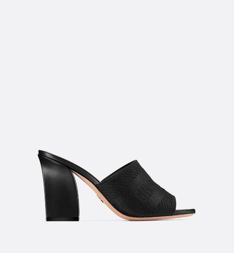 Dway Heeled Mule • Black Embroidered Cotton