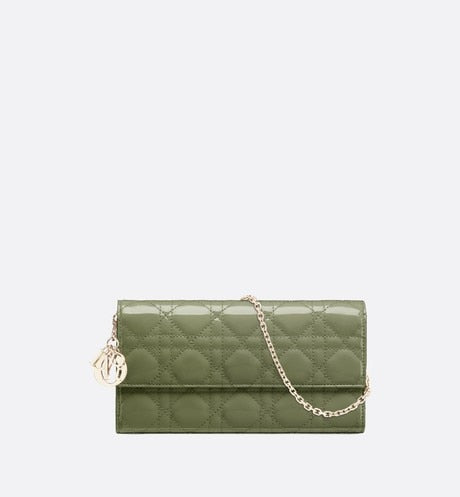 Lady Dior Long Wallet • Dusty Jade Patent Cannage Calfskin
