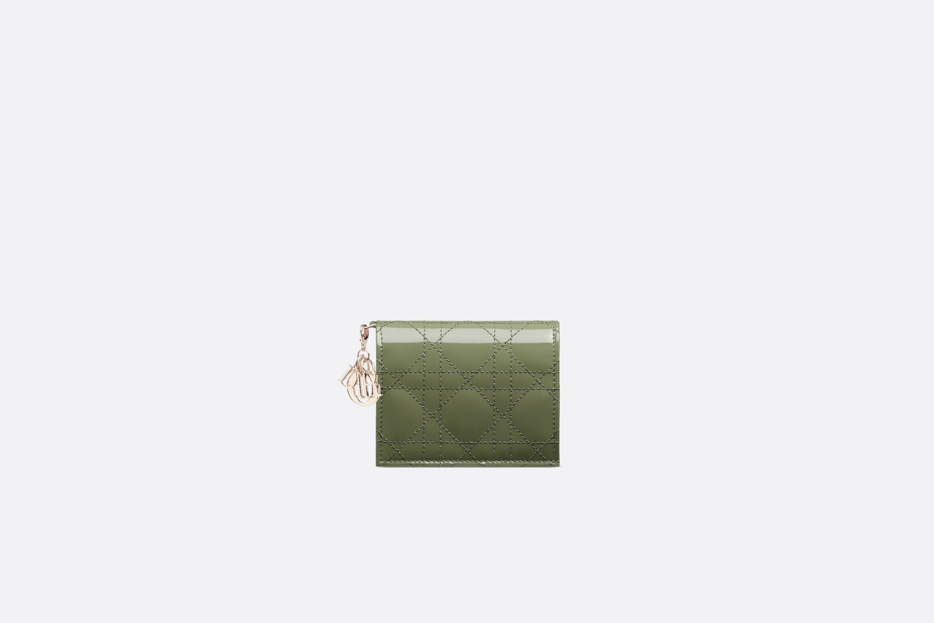 Mini Lady Dior Wallet • Dusty Jade Patent Cannage Calfskin