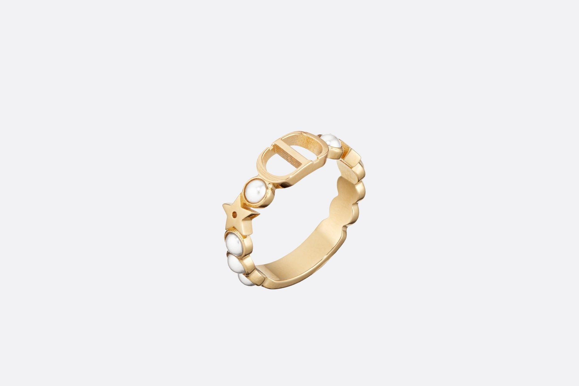 Petit CD Ring • Gold-Finish Metal and White Resin Pearls
