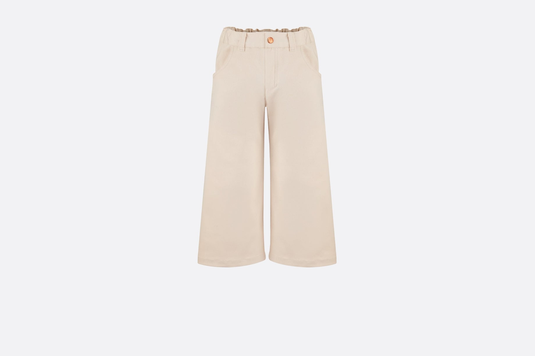 Wide-Leg Pants • Beige-Pink Cotton Gabardine