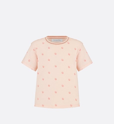T-Shirt • Pink Dior Oblique Jersey with Velvet Effect