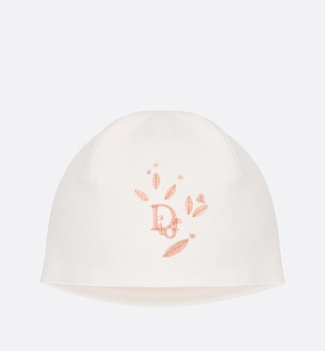 Bonnet • Powder Pink Cotton Interlock with Floral Motif