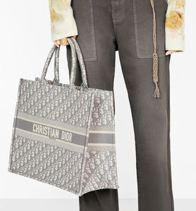 Dior Book Tote • Gray Dior Oblique Embroidery