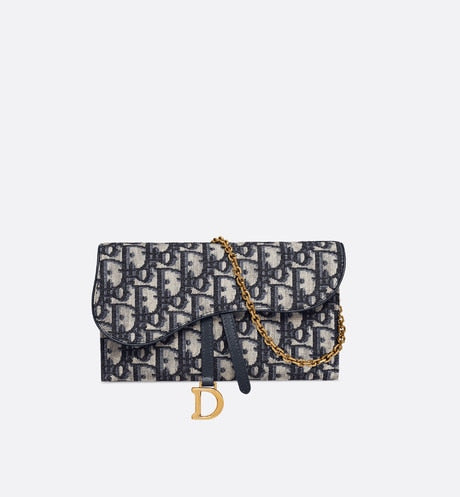 Saddle Long Wallet • Blue Dior Oblique Jacquard