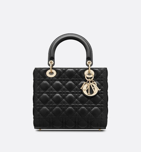 Medium Lady Dior Bag • Black Lambskin
