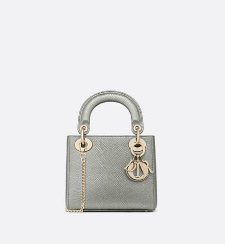 Mini Lady Dior Bag • Gray Beaded Karung
