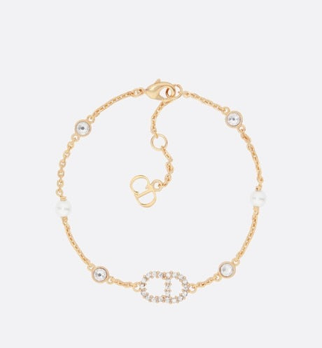 Clair D Lune Bracelet • Gold-Finish Metal, White Resin Pearls and White Crystals