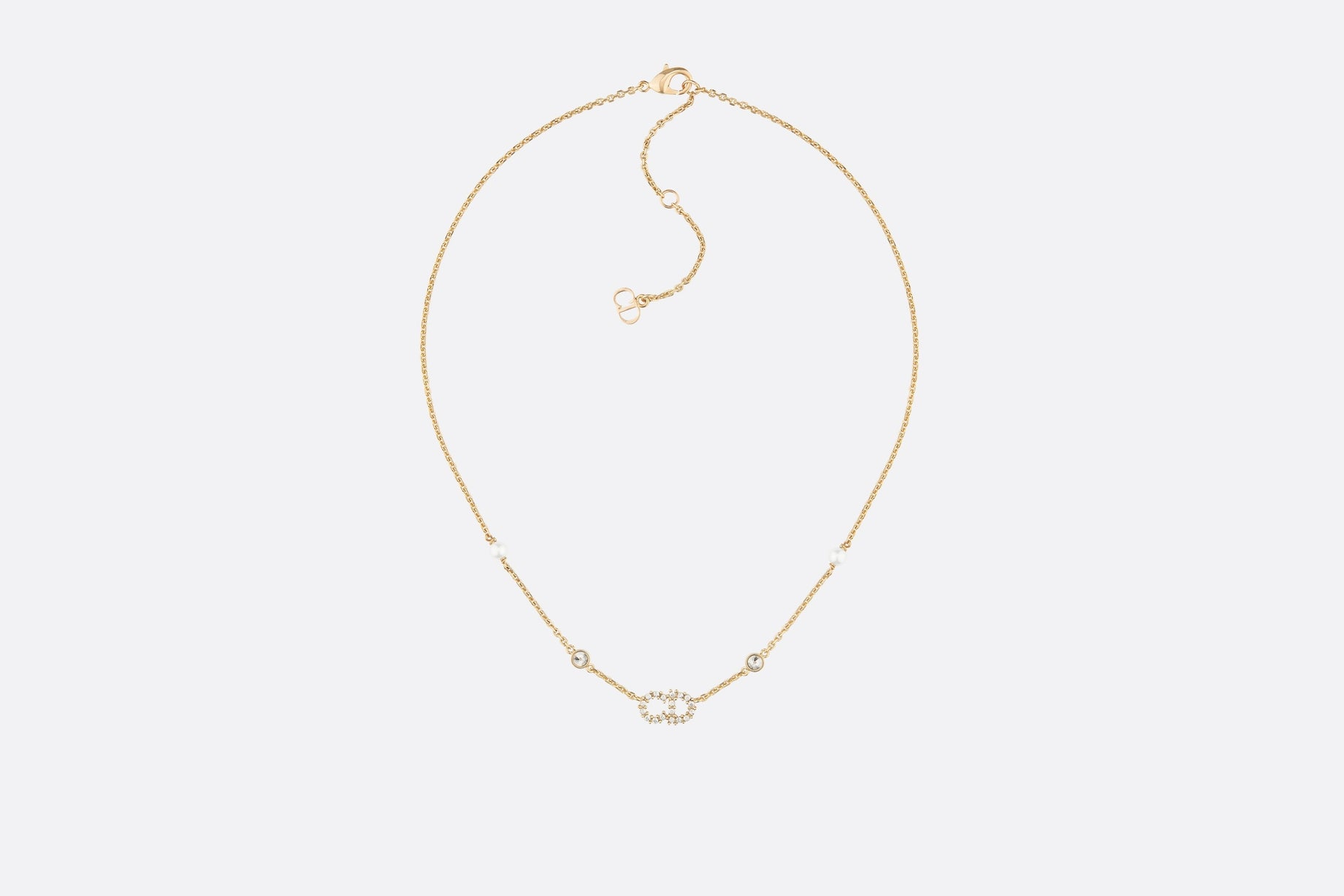 Clair D Lune Necklace • Gold-Finish Metal, White Resin Pearls and White Crystals