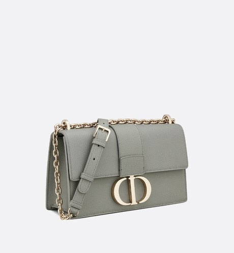 30 Montaigne Chain Bag • Gray Stamped Grained Calfskin