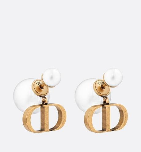 Dior Tribales Earrings • Antique Gold-Finish Metal and White Resin Pearls