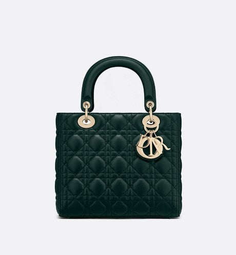 Medium Lady Dior Bag • Deep Green Cannage Lambskin