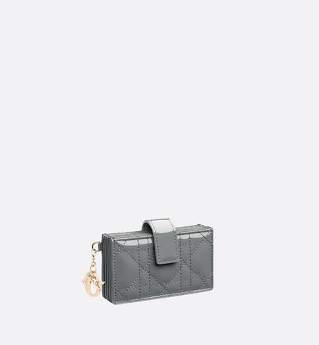 Lady Dior 5-Gusset Card Holder • Gray Stone Patent Cannage Calfskin