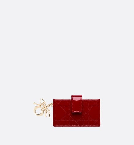 Lady Dior 5-Gusset Card Holder • Cherry Red Cannage Patent Calfskin