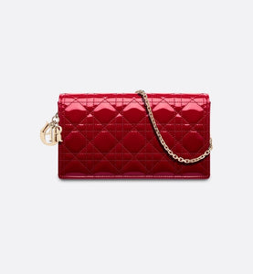 Lady Dior Pouch • Cherry Red Cannage Patent Calfskin