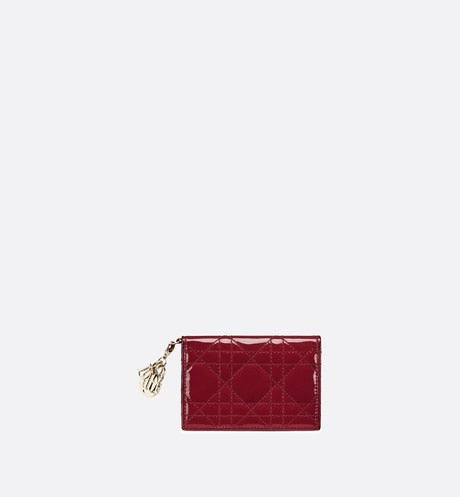 Lady Dior Flap Card Holder • Cherry Red Cannage Patent Calfskin
