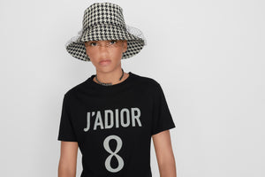 T-shirt • White Cotton and Linen with 'J'Adior 8' Print