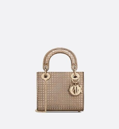 Mini Lady Dior Bag • Gold Microcannage Metallic Calfskin