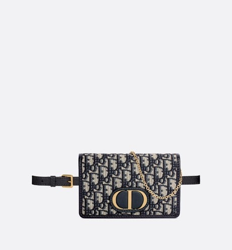30 Montaigne 2-in-1 pouch • Blue Dior Oblique Jacquard