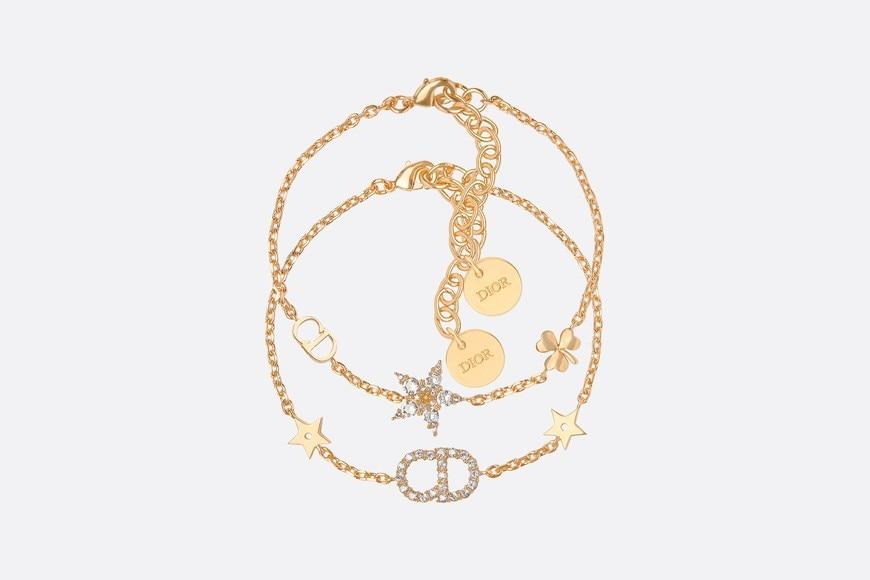 Clair D Lune Bracelet Set • Gold-Finish Metal and White Crystals