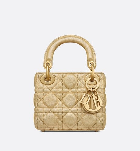 Lady Dior Nano Bag • Metallic Gold-Tone Cannage Lambskin