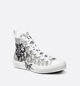 B23 High-Top Sneaker • Black and White Dior Oblique Canvas with DIOR AND SHAWN Bee Embroidery Patch