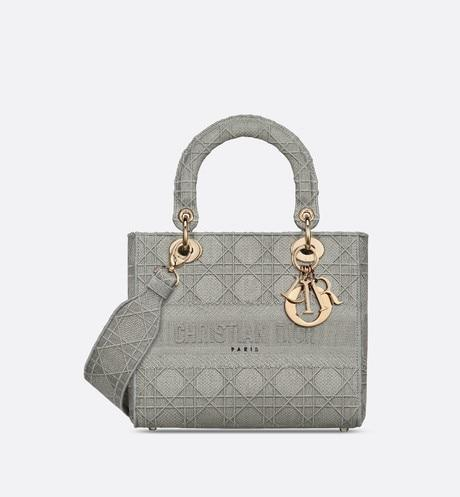 Medium Lady D-Lite Bag • Gray Cannage Embroidery