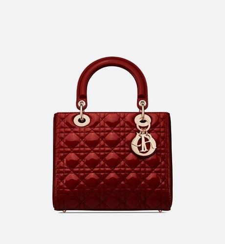 Medium Lady Dior Bag • Cherry Red Cannage Patent Calfskin