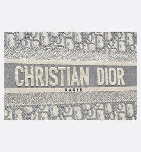 Small Dior Book Tote • Gray Dior Oblique Embroidery