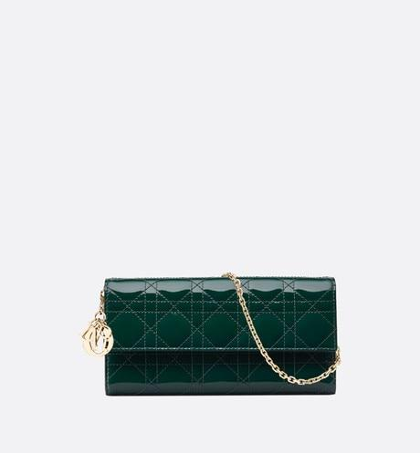 Lady Dior Long Wallet • Green Calfskin