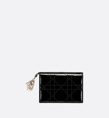 Lady Dior Flap Card Holder • Black Cannage Patent Calfskin