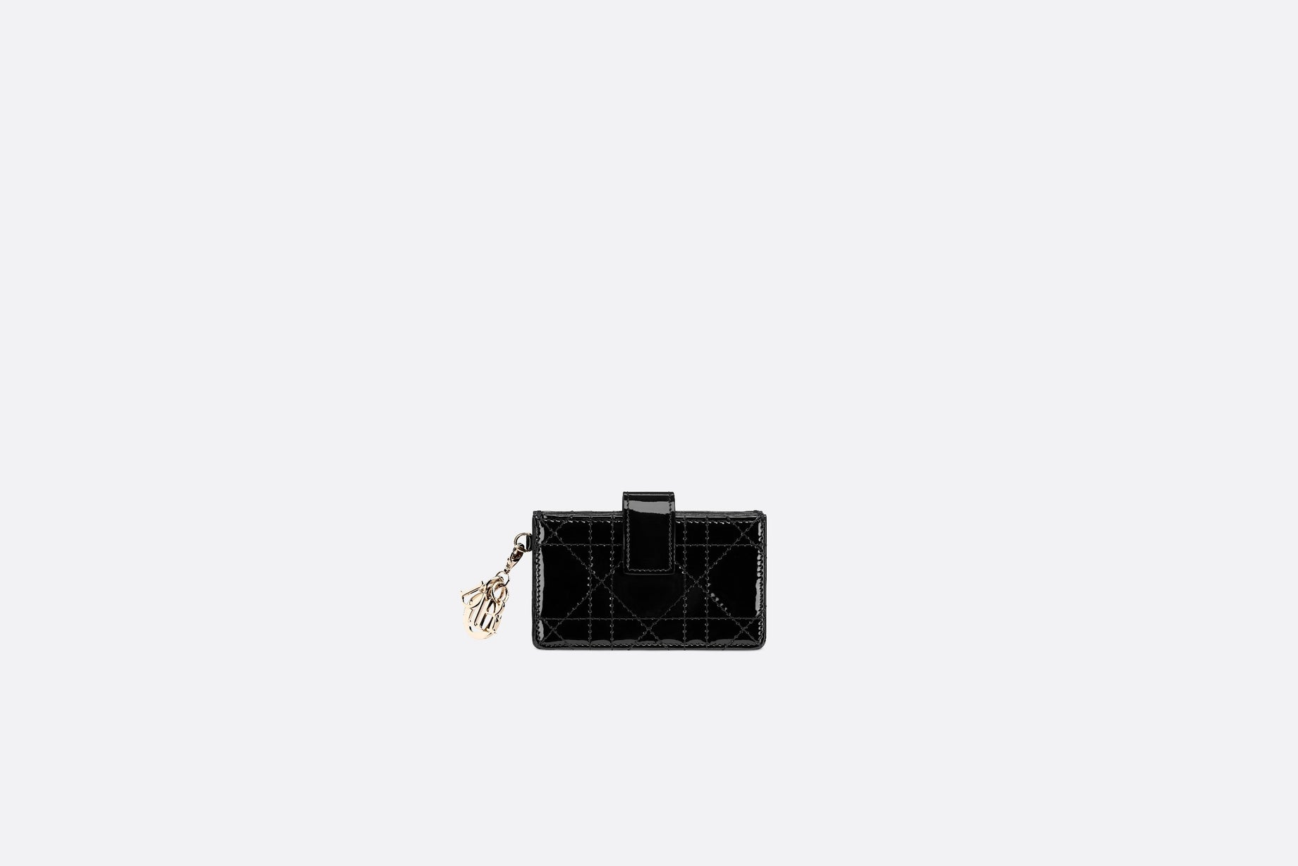 Lady Dior 5-Gusset Card Holder • Black Cannage Patent Calfskin