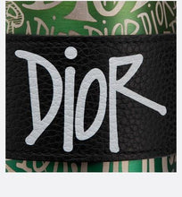 Load image into Gallery viewer, Bottle and Bottle-Holder • Multicolor Steel with DIOR AND SHAWN Motif and Black Grained Calfskin with DIOR AND SHAWN Signature