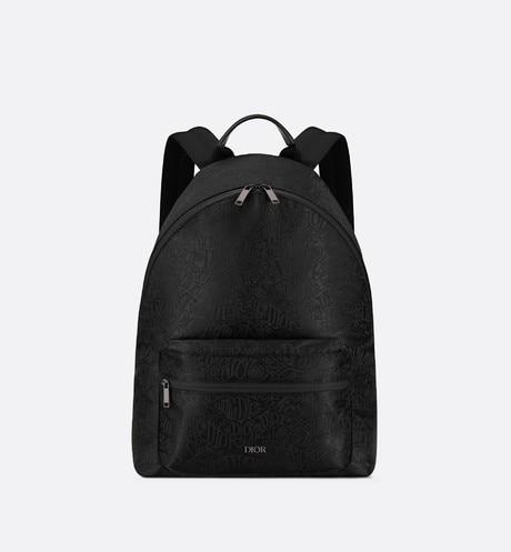 Rider Backpack • Black Nylon Jacquard with DIOR AND SHAWN Motif