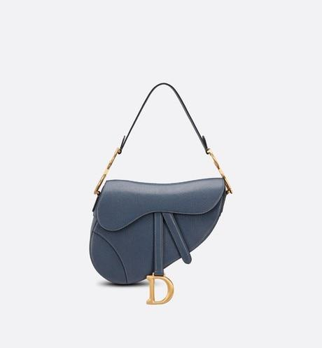 Saddle Bag • Dark Denim Blue Shiny Goatskin