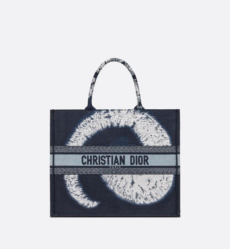 Dior Book Tote • Blue Multicolor Tie & Dior Embroidery