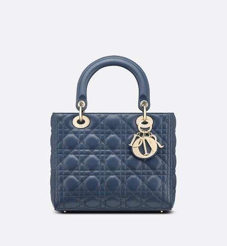 Medium Lady Dior Bag • Dark Denim Blue Cannage Lambskin
