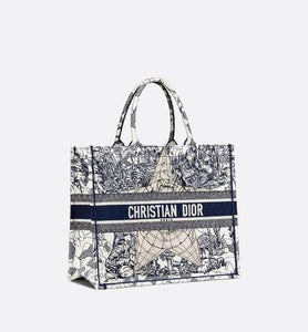 Dior Book Tote • Blue Multicolor Dior Around the World Embroidery