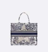 Load image into Gallery viewer, Dior Book Tote • Blue Multicolor Dior Around the World Embroidery